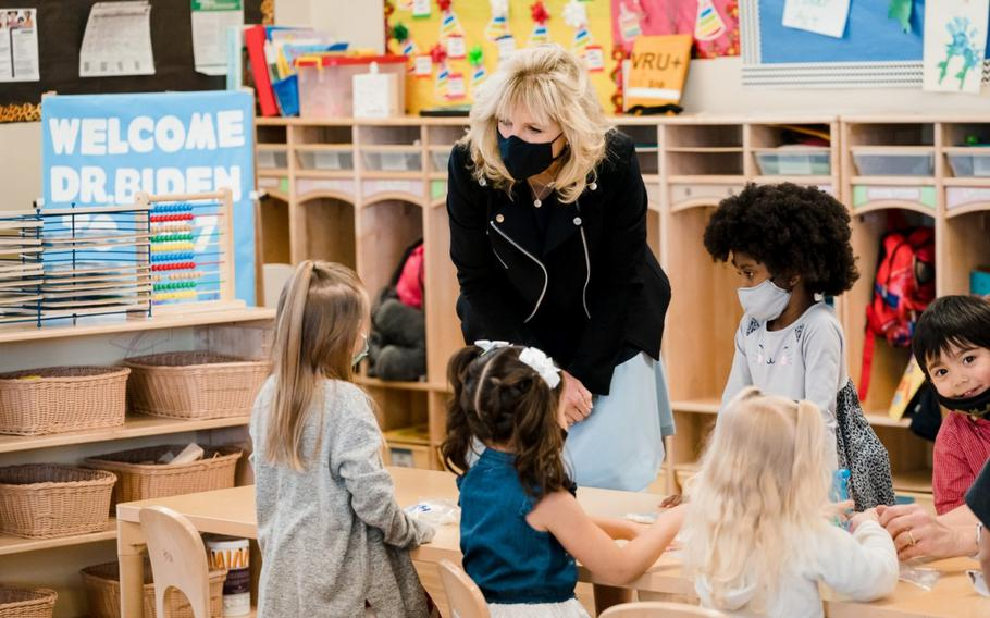 First Lady Jill Biden participates in a tour and greets children March 10, 2021, at the Child Development Center at Marine Corps Air Ground Combat Center in Twentynine Palms, Calif.
