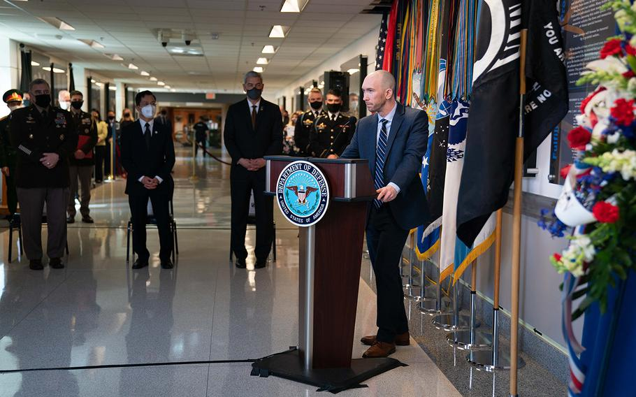 Rennie Cory III, son of Lt. Col. Rennie Cory, who was killed in a helicopter crash in Vietnam on April 7, 2001, speaks during the Defense POW/MIA Accounting Agency (DPAA) ceremony commemorating the 20th anniversary of the tragedy, at the Pentagon, April 7, 2021.