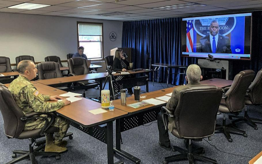 Fort McCoy Garrison command team members carry out virtual training for extremism awareness March 26, 2021, at Fort McCoy, Wis.