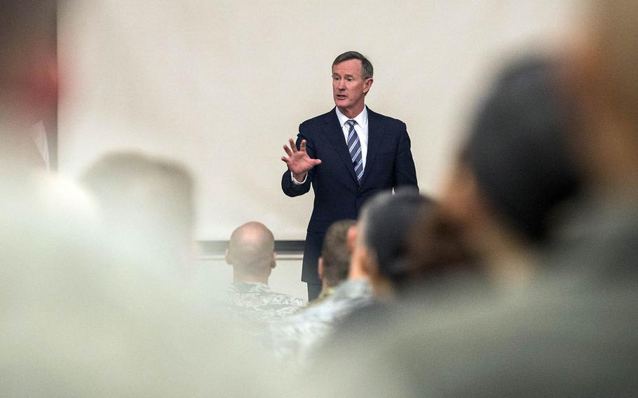 Retired Navy admiral William McRaven speaks to service members during a leadership seminar at Joint Base San Antonio in Lackland, Texas, Jan. 10, 2018.