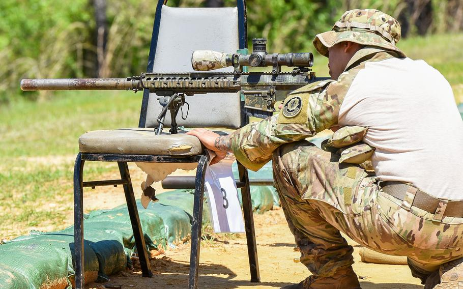 Army Sgt. Gerald Vistayan, an infantrymen from the 2nd Cavalry Regiment, shoots in the Army's Best Sniper competition on Monday, April 12, 2021.