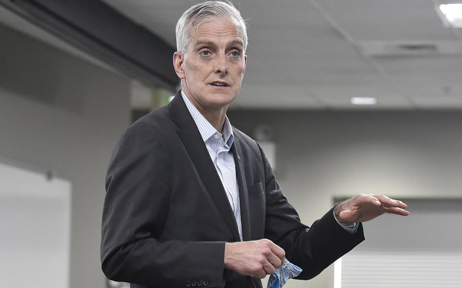 Veterans Affairs Secretary Denis McDonough attends an event at Fort Harrison in Helena, Mont., on April 7, 2021. McDonough on Wednesday, April 14, led hundreds of employees in a pledge against domestic violence and sexual harassment and assault.