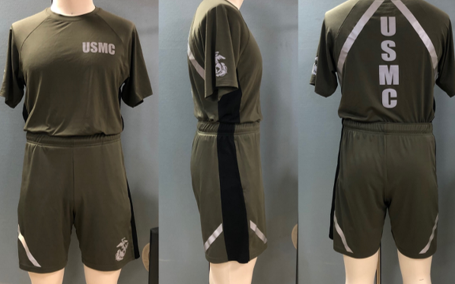 A prototype version of the new Marine Corps Physical Training Uniform. The new shirt and shorts will be tested and evaluated by 500 Marines. The uniform will provide a more athletic fit that aligns with today's commercial clothing trends.