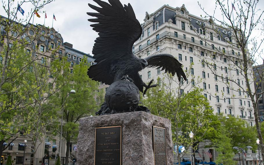 A bronze statue of a bald eagle still remains from the old Pershing Park and has been incorporated into the new World War I Memorial where a dedication ceremony took place on Friday, April 16, 2021, in Washington, D.C.