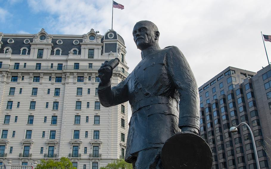 A statue of Gen. John J. Pershing and two memorial walls still remain from the old Pershing Park and have been incorporated into the new World War I Memorial where a dedication ceremony took place on Friday, April 16, 2021, in Washington, D.C.