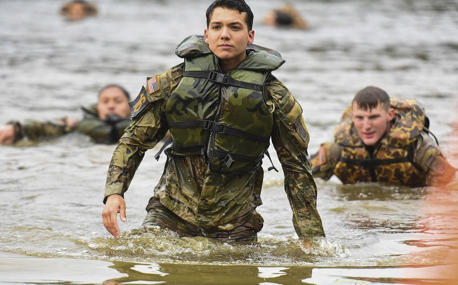 Soldiers compete in the 2021 Best Ranger competition at Fort Benning, Ga. on Friday, April 16. The three-day contest, considered among the Army's most grueling challenges, returned this year after the coronavirus pandemic forced its cancellations in 2020.