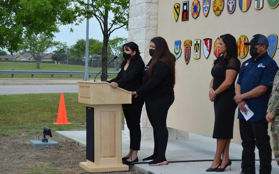 Lupe and Mayra Guillen, sisters of Spc. Vanessa Guillen, said the dedication of a gate at Fort Hood, Texas, in honor of their sister on Monday is important so that what happened to her never happens again. Vanessa Guillen, 20, was killed by a fellow soldier in an arms room on base one year ago.