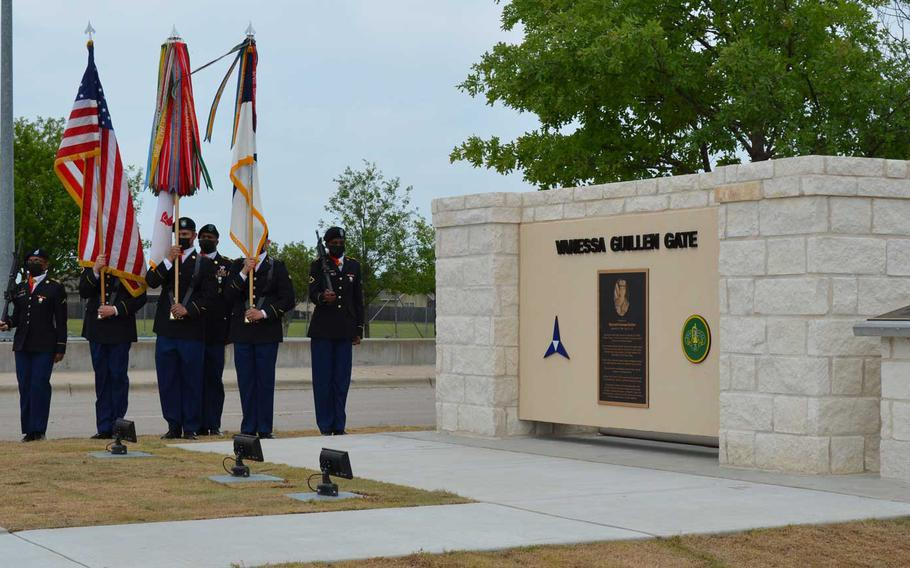 Two signs were unveiled Monday at Fort Hood, Texas, to rename a gate at the base to honor Spc. Vanessa Guillen, who was killed by a fellow soldier while serving with Fort Hood's 3rd Cavalry Regiment.