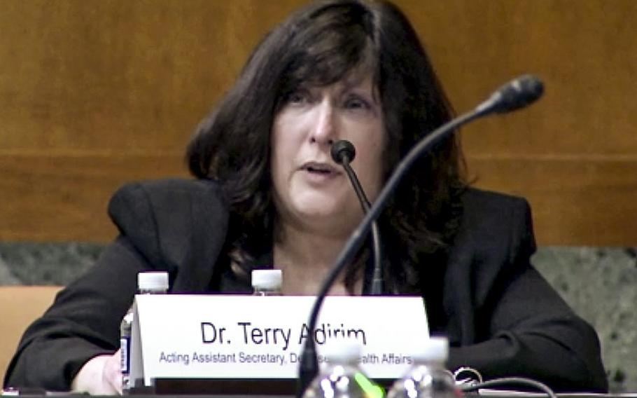 In a screen capture from a Senate video, Dr. Terry Adirim, acting assistant secretary of defense for health affairs, testifies at a Senate Appropriations defense subcommittee hearing on April 20, 2021.