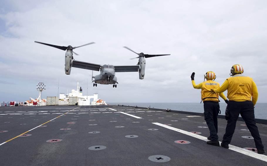 An MV-22B Osprey takes off from the hospital ship USNS Mercy in waters off Southern California, April 14, 2021.