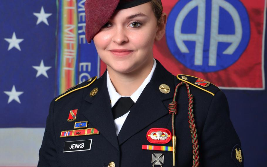Army Spc. Abigail Jenks, 21, of Gansevoort, N.Y., was killed Monday during a static-line jump as part of the training exercise, said Lt. Col. Mike Burns, a spokesman for the 82nd Airborne Division. She was assigned to the division's 1st Battalion, 319th Airborne Field Artillery Regiment, 3rd Brigade Combat Team at Fort Bragg, N.C.