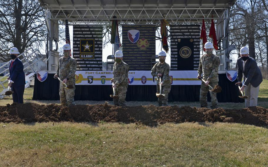 In a March 2021 photo, ground is broken at Fort Campbell, Ky., for Erevia Park, part of a larger $87.4 million development plan the Army approved in 2020, and is funded through Lendlease's project reinvestment account.