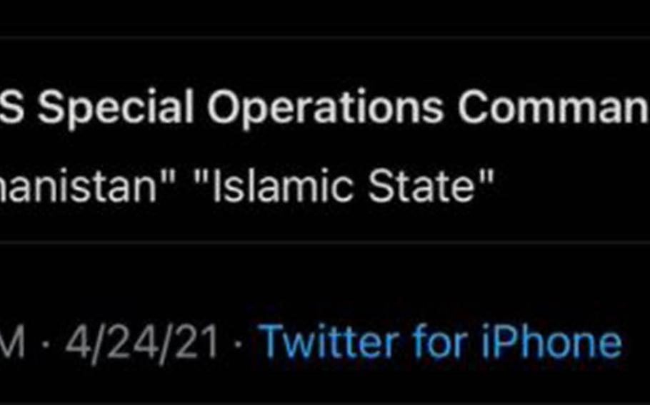 """U.S. Special Operations Command Central says a hacker was responsible for a """"misleading message"""" posted to its Twitter account over the weekend."""