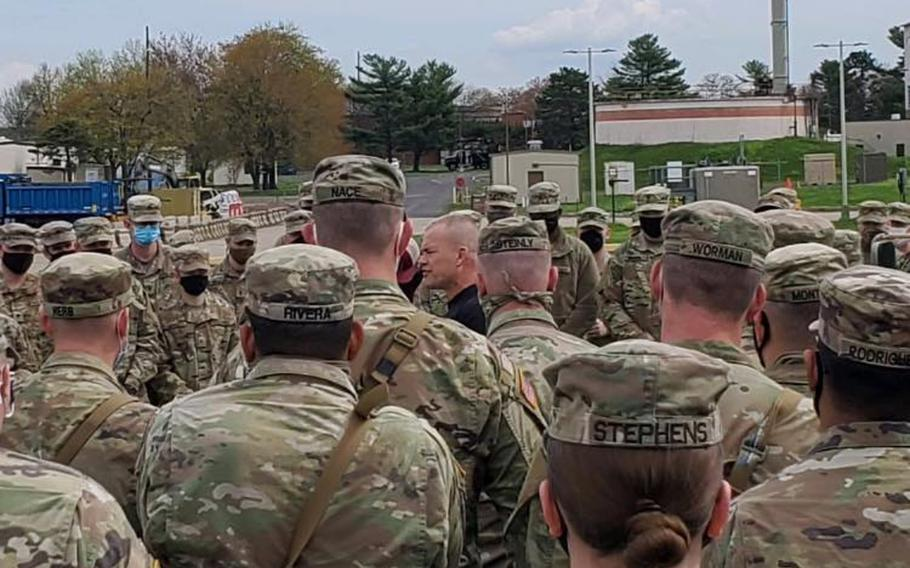 Retired Navy SEAL officer Jocko Willink speaks with soldiers during a visit at Biddle Air National Guard Base, Pa., April 19, 2021. Willink told the soldiers that the tough times are what bring units together and make people stronger.
