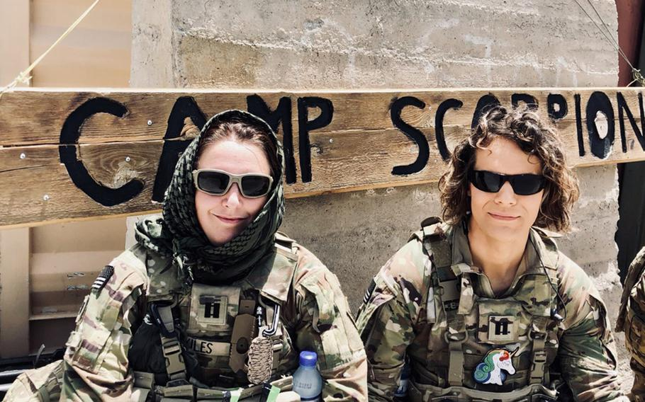 Then-Capt. Alivia Stehlik, right, a transgender service member, and Capt. Sara Skiles deployed to Afghanistan in 2018. A reversal of a ban by the Trump administration on transgender troops serving in the military took effect April 30, 2021.