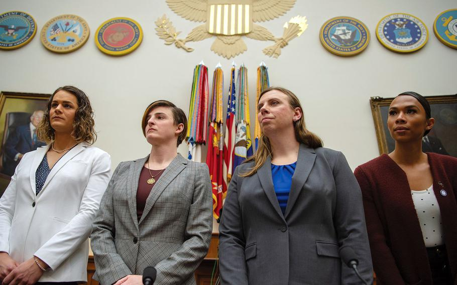 Then-Capt. Alivia Stehlik, left, testified on Capitol Hill in Washington on Wednesday, Feb. 27, 2019, about the U.S.  military's policy on transgender service members. Others who testified are, from left to right, Army Capt. Jennifer Peace, Staff Sgt. Patricia King and Navy Petty Officer 3rd Class Akira Wyatt.