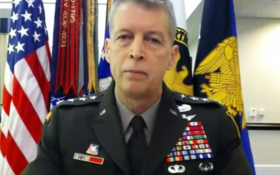 In a screen capture from a video, Gen. Daniel Hokanson, chief of the National Guard Bureau, testifies at a House Appropriations subcommittee hearing on May 4, 2021.