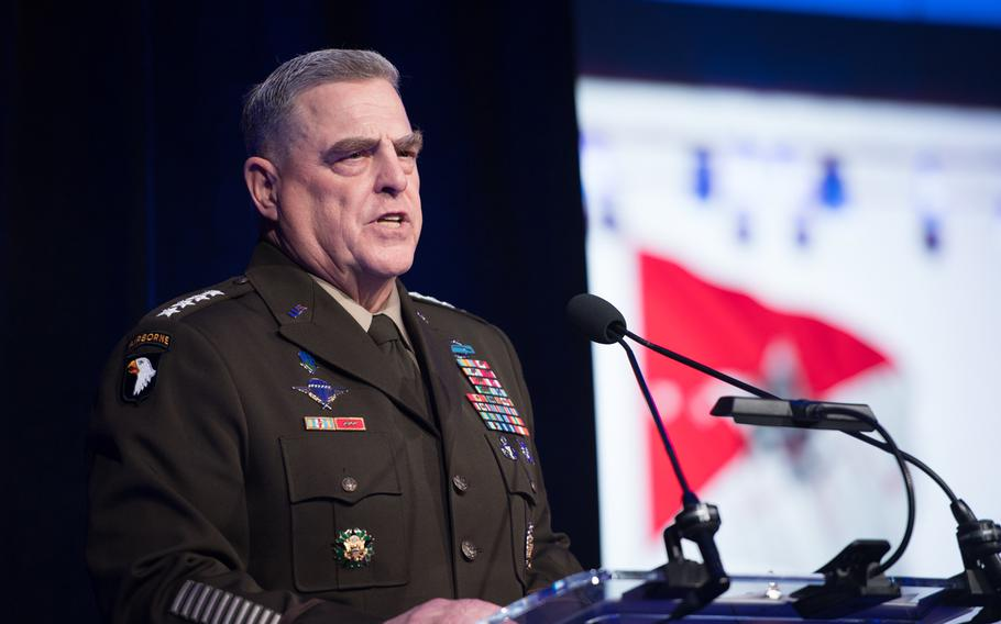 Army Gen. Mark Milley, chairman Joint Chiefs of Staff, speaks at the 2019 Army Birthday Ball in Washington, D.C., June 15, 2019. Milley said Thursday that new data about sexual assaults and command climates throughout the service softened his stance against changes to how the military prosecutes those cases.
