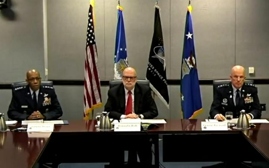 Air Force Chief of Staff Gen. Charles Q. Brown, left, delivers his opening statement at a House Appropriations Committee budget hearing, May 7, 2021. With him are Acting Air Force Secretary John P. Roth, center, and Space Force Chief of Operations Gen. John W. Raymond.