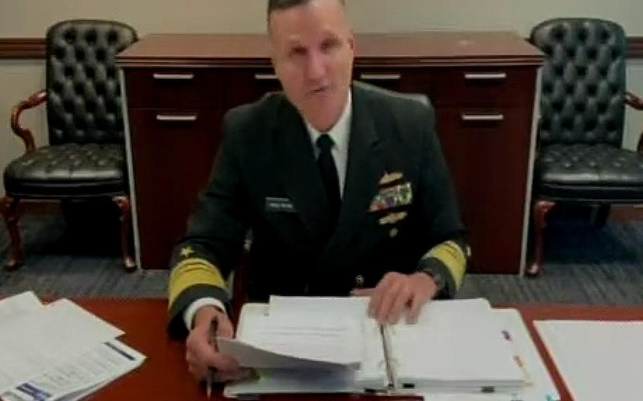 In a screen capture from a HASC video, Vice Adm. William Galinis testifies at a hearing on May 6, 2021.