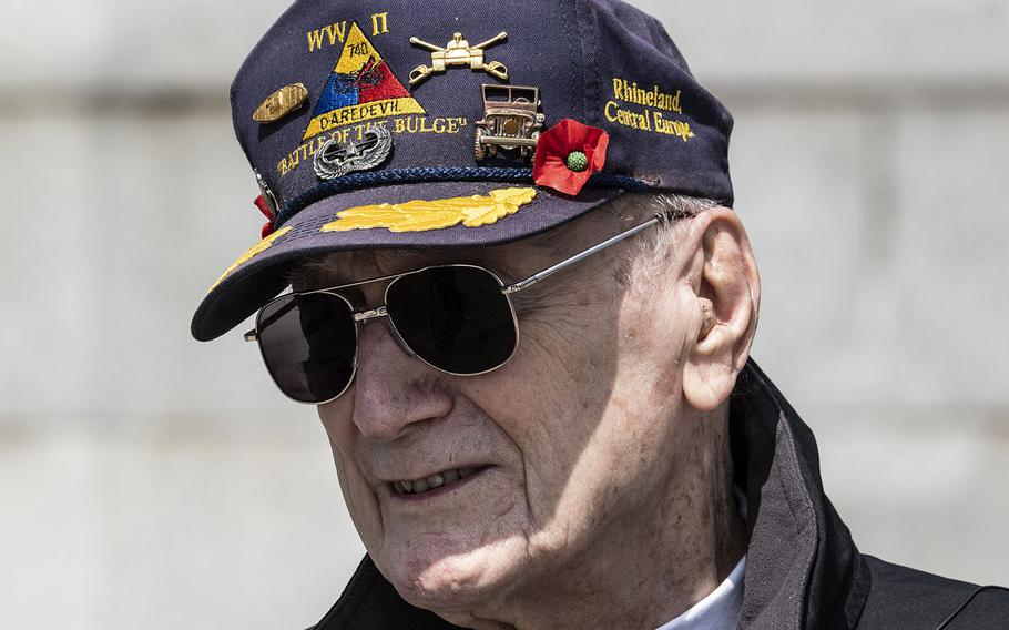 World War II veteran Harry Miller is interviewed after a ceremony at the National World War II Memorial in Washington, D.C. on May 8, 2021, the anniversary of the end of the war in Europe.