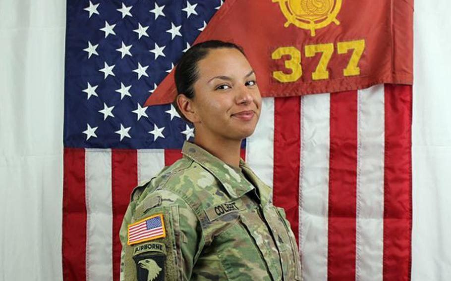 Staff Sgt. Amy Colbert, who was killed by her husband, Sgt. Lance E. Colbert, April 6, 2019 at Fort Bliss, Texas. Capt. Christopher D. Long was awarded the Soldier's Medal recently for his selfless service and swift actions while trying to save Amy Colbert's life.
