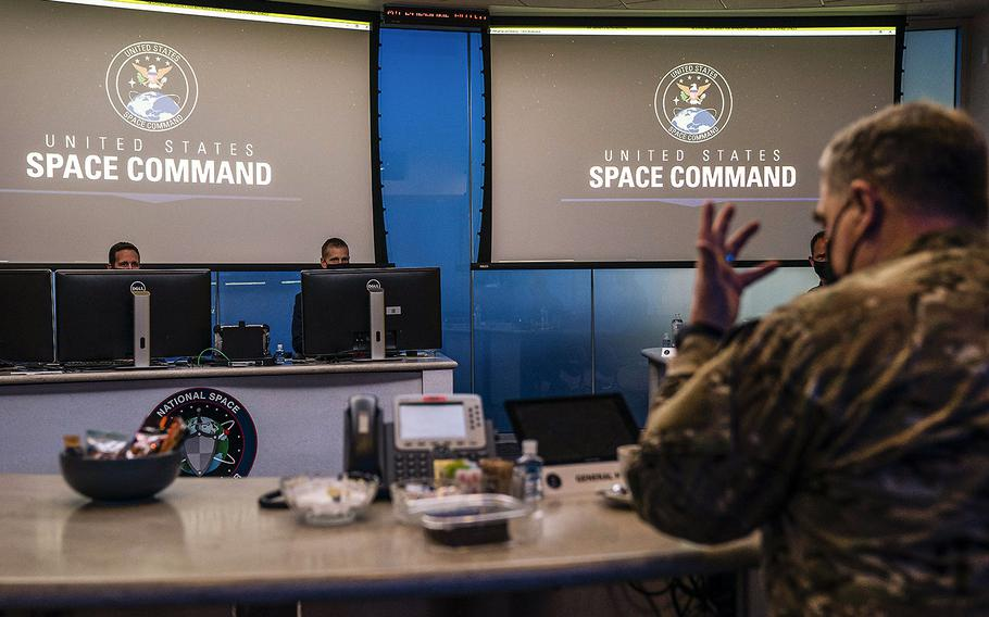 Gen. Mark A. Milley, chairman of the Joint Chiefs of Staff, foreground, visits U.S. Space Command at Schriever Air Force Base, Colorado Springs, Colo, March 1, 2021.