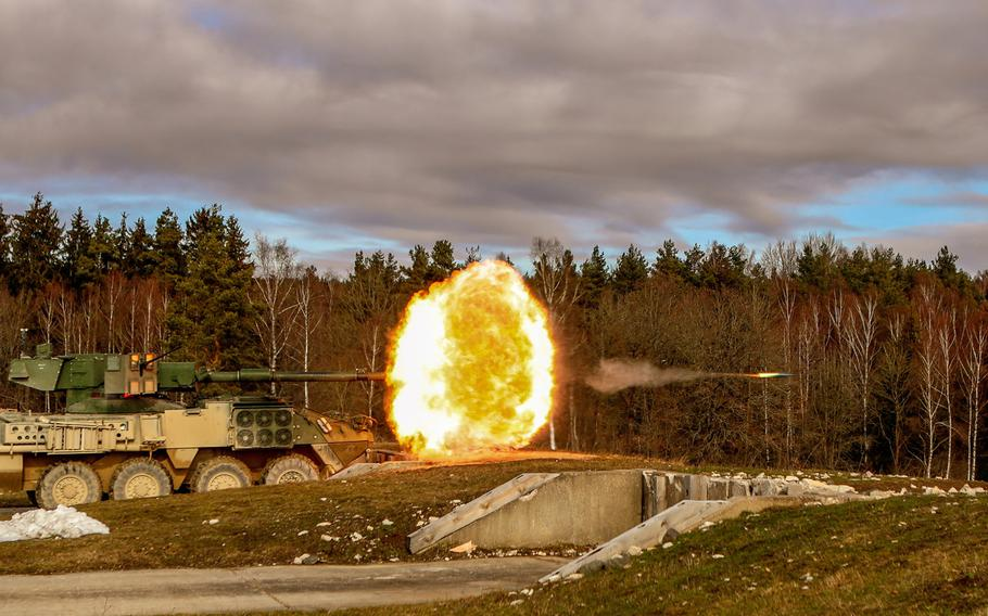 A U.S. Army Stryker Mobile Gun System variant belonging to the 4th Squadron, 2nd Cavalry Regiment, fires at targets during a weeklong gunnery exercise at the Grafenwoehr Training Area, Germany, Feb. 14, 2019. The Army will divest itself of the Stryker variant by October 2022 to free up money for more modern systems with better protection, officials said Wednesday.