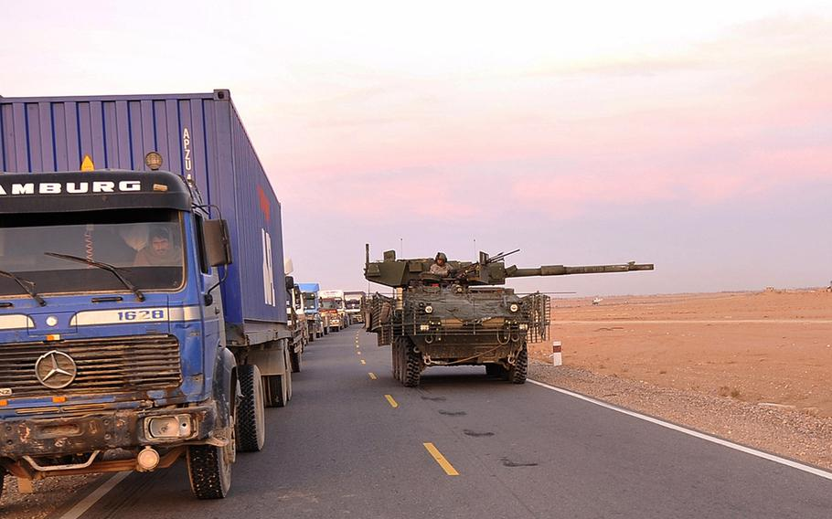 An M1128 Stryker Mobile Gun System from 2nd Battalion, 1st Infantry Regiment, 5th Stryker Brigade Combat Team, 2nd Infantry Division convoys along Highway 1 in Hutal, Kandahar province, Afghanistan, Dec. 25, 2009. The Army will eliminate the Stryker Mobile Gun System variant from its fleet by October 2022 to free up money for more modern systems with better protection, officials said Wednesday.