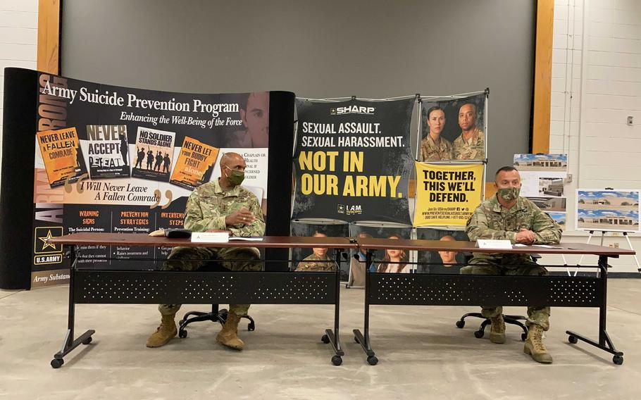 U.S. Army Deputy Chiefs of Staff Lt. Gen. Gary Brito, left, and Col. William Zielinski, discuss the People First Center, a new training and resource facility at Fort Hood, Texas on Thursday, Oct. 7, 2021.
