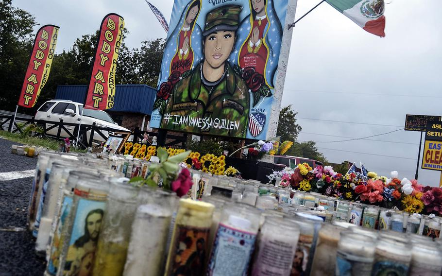A memorial to honor Spc. Vanessa Guillen remains one year later in the parking lot of a tattoo shop in Killeen, Texas. Guillen, 20, was killed April 22, 2020, by a fellow soldier at Fort Hood. Her death has led to numerous investigations that have spurred reforms within the Army.