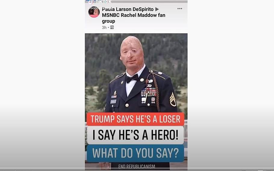 """A video screen grab shows wounded Army veteran Bobby Henline who is demanding people stop using his image for political propaganda purposes. """"That's my face,"""" he says in a video posted on YouTube. """"I'm here to tell you, it's not true,"""" he says of the message attached to his image."""