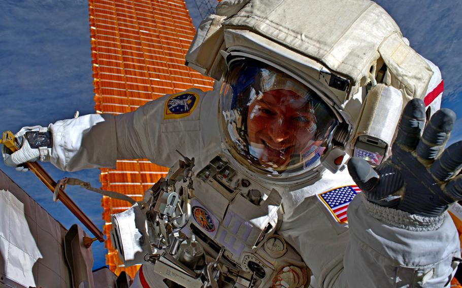 Army Col. Andrew Morgan is pictured here on a spacewalk on Friday, Oct. 11, 2019, in a photo taken by NASA Astronaut Christina Koch while the duo were upgrading the International Space Station's solar array batteries. Morgan, a special operations physician, is the commander of the U.S. Army Space and Missile Defense Command's Army Astronaut Detachment at Johnson Space Center, Texas, and the space station's flight engineer.