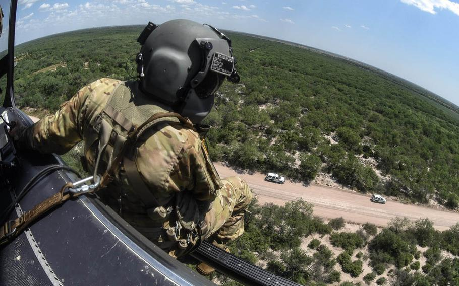 South Carolina Army National Guard soldiers provide airborne support to the U.S. Department of Homeland Security in proximity of the southwest border, McAllen, Texas, in 2018.