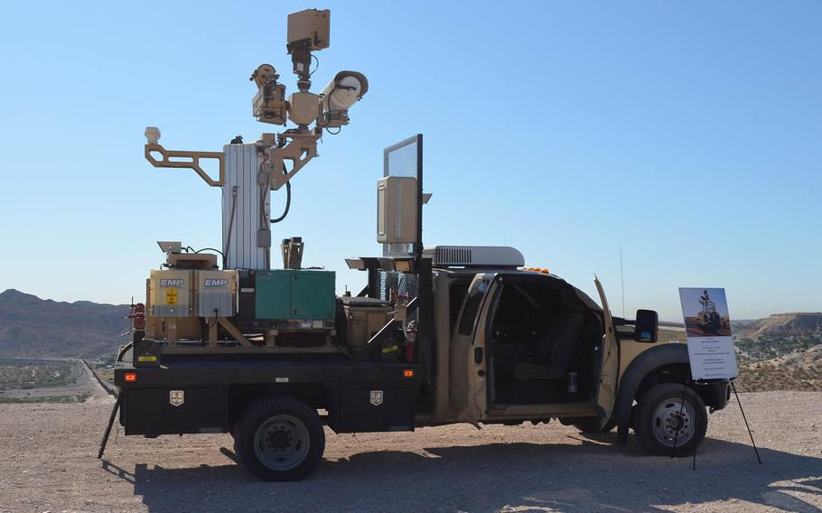 Servicemembers deployed to the U.S.-Mexico border operated about 150 Border Patrol mobile surveillance camera vehicles similar to this one on display near Sunland Park, N.M.