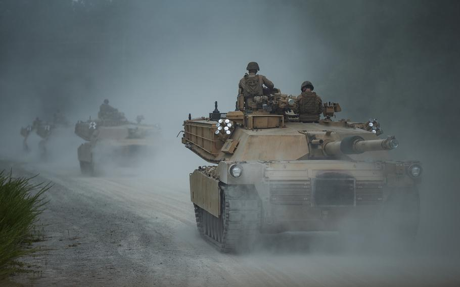 Marines with 2nd Tank Battalion, 2nd Marine Division, track through tank trails on Camp Lejeune, N.C., for the last time, July 27, 2020. After serving in the division for more than three quarters of a century, 2nd Tank Battalion, as well as all other Marine tank units, will deactivate in response to a future redesign of the Marine Corps.