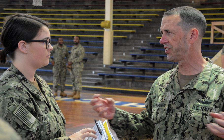 Adm. John Richardson, Navy chief of naval operations, talks with Kaitlyn Fant, a hospitalman, after an all-hands call May 28, 2019, at Joint Base Pearl Harbor-Hickam, Hawaii.