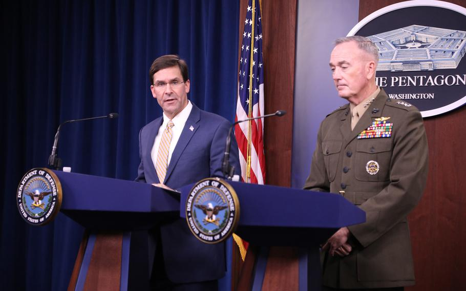 Defense Secretary Mark Esper and Marine Gen. Joseph Dunford, the chairman of the Joint Chiefs of Staff, announce the deployment of U.S. Forces in response to the attack on Saudi Arabian oil facilities last week.