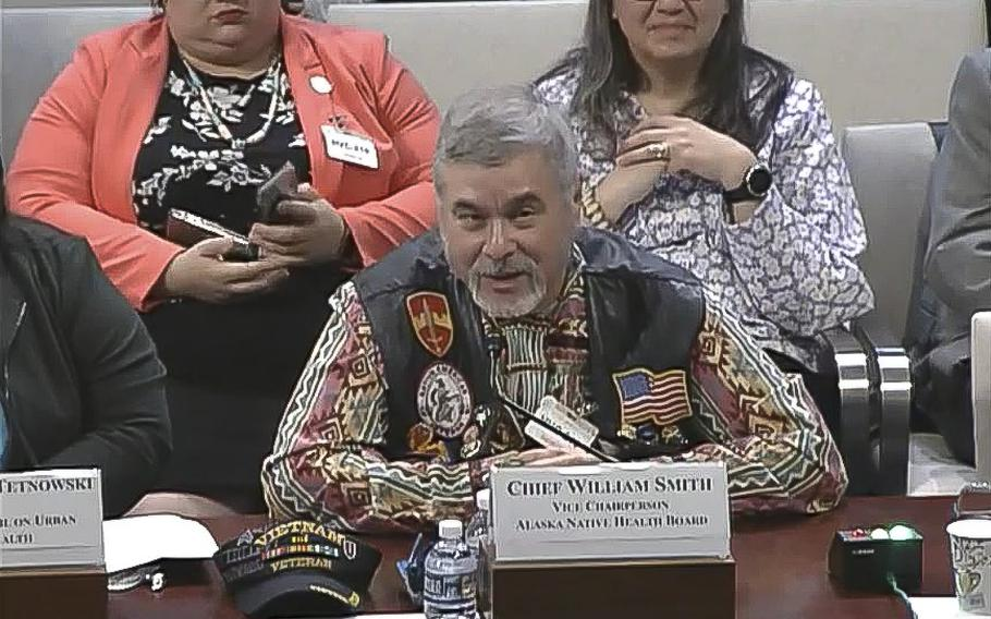 A video screen grab shows Chief William Smith, with the Alaska Native Health Board, testifying at a hearing on Capitol Hill on Oct. 30, 2019.