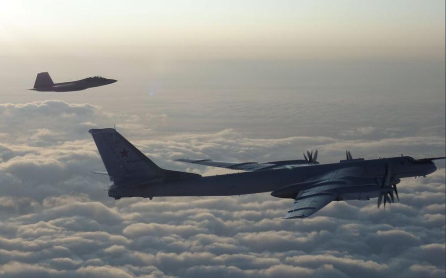 American and Canadian fighter jets intercepted Russian Tu-95 Bear bombers in international airspace off the coast of Alaska on Thursday.