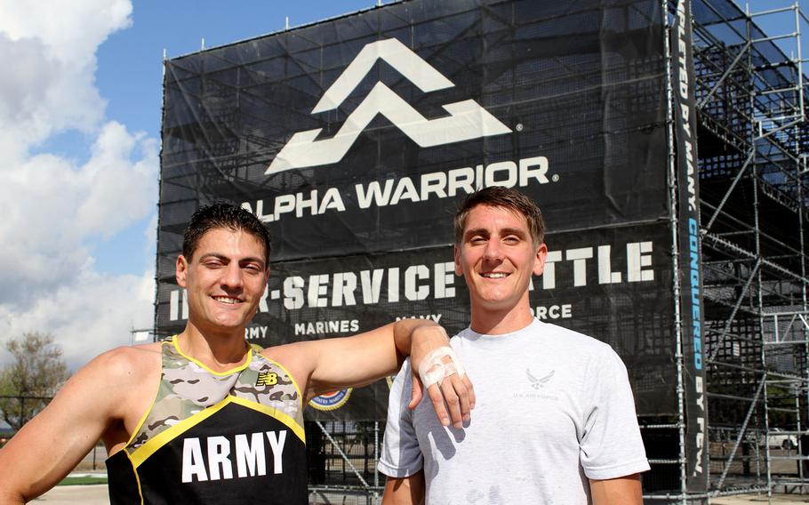 From left, Army Lt. Col. Eric Palicia and Air Force Capt. Noah Palicia, who are brothers, will compete against other members of their service branches Thursday in the Alpha Warrior competition at Retama Park near San Antonio. The competition is the first time the brothers have seen each other in more than two years.