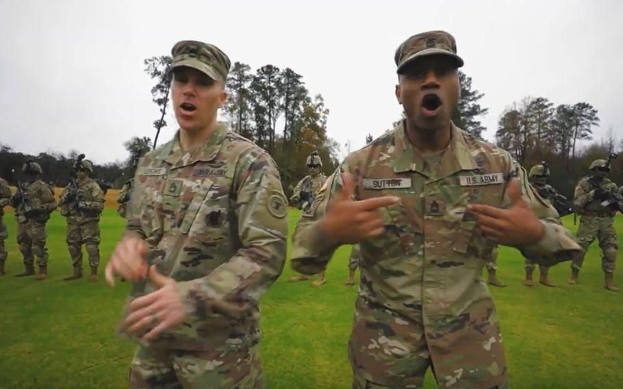 """A screen grab shows a scene from an Army recruiting video called """"Giving All I Got."""""""
