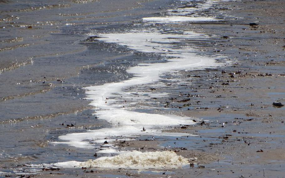 PFAS foam on the shoreline of Van Etten Lake near Wurtsmith Air Force Base on Wednesday, April 24, 2019. The foam is one of several pollution concerns at the heart of a dispute between state regulators and the U.S. military over contamination cleanup in Oscoda, Mich.