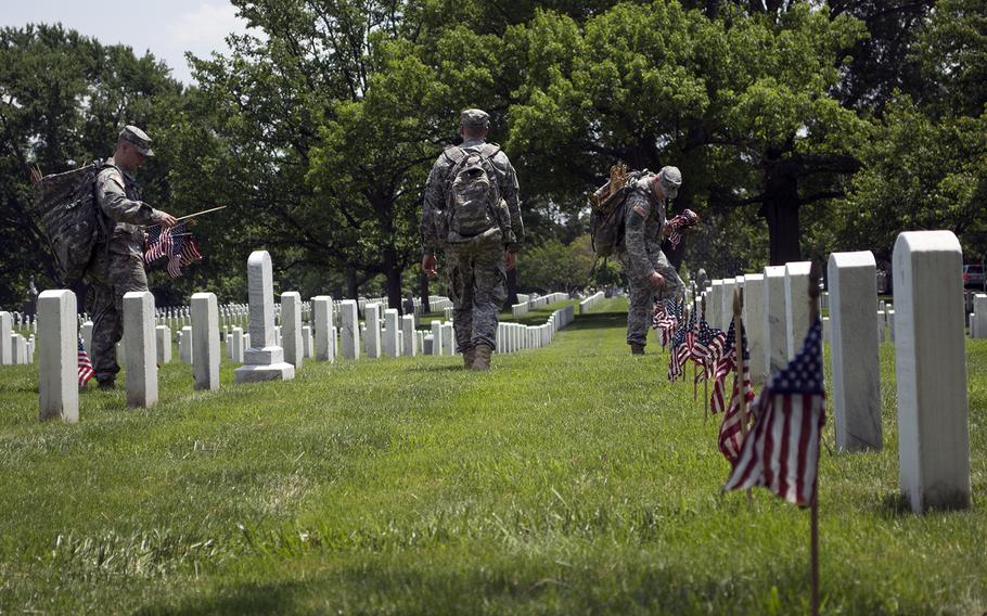 """""""They've given the ultimate sacrifice for their country,"""" said. Pvt. Juan Garcia. """"We wouldn't be able to live the lifestyle that the entire country does if it wasn't for the men and women we're honoring today."""