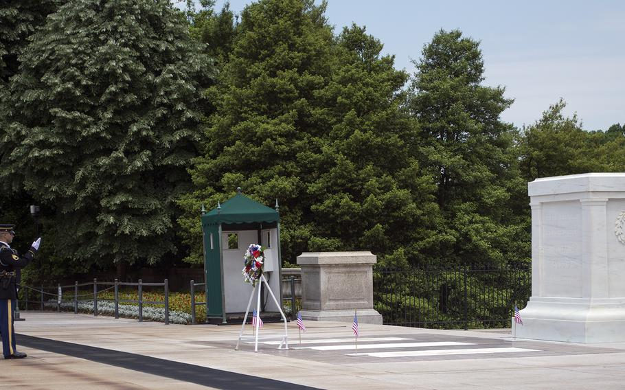 Four flags were also placed at the Tomb of the Unknowns.