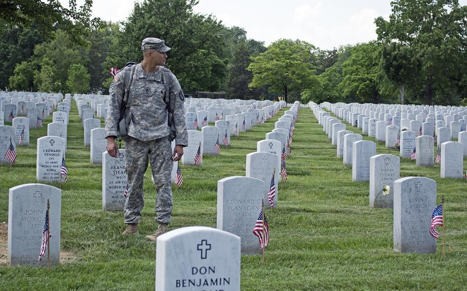 The soldiers fanned out across Arlington National Cemetery on Thursday, repeating this process across the hallowed grounds of to the tune of 200,000 times.