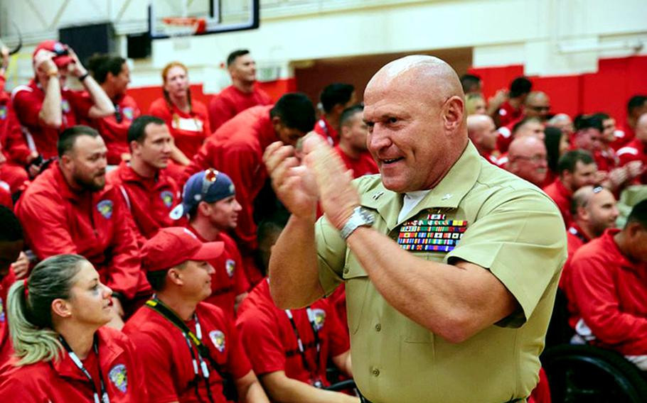 Col. T. Shane Tomko addresses the Warrior Games All-Marine Team in 2014, when he was commanding officer of the Wounded Warrior Regiment. Tomko was sentenced to 18 months in prison Tuesday in the Virginia Beach Circuit Court for abusing children.