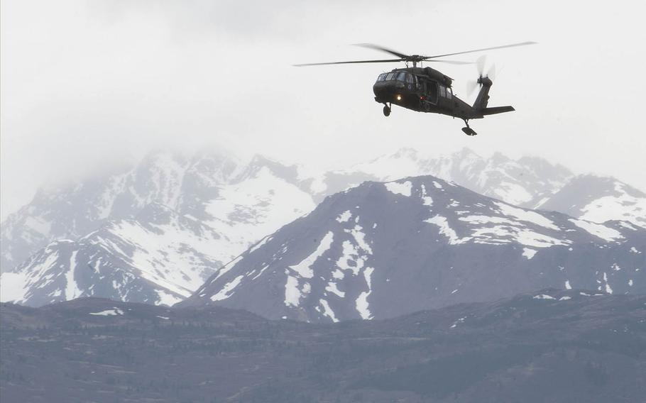 An Alaska Army National Guard Black Hawk helicopter, shown here during airborne training at Joint Base Elmendorf-Richardson, Alaska, May 30, 2018, was the type of aircraft used to save a pilot and two moose hunters after their plane crashed recently in the western part of the state.