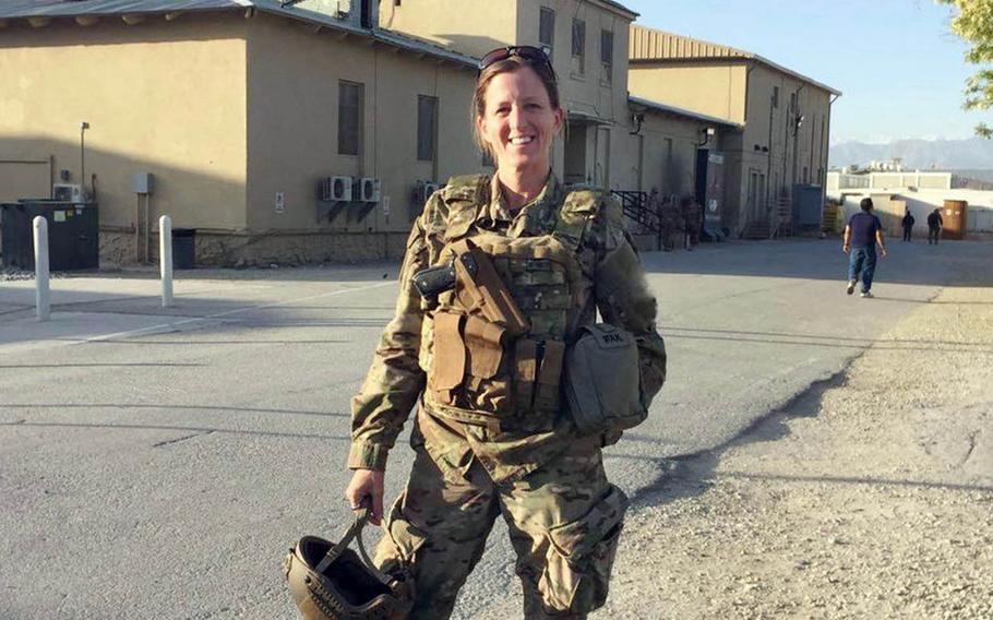 Army Lt. Col. Tara Carr — shown here at Bagram Airfield, Afghanistan in May, 2017 — is one of 25 finalists in the Ms. Veteran America competition. The winner will be crowned Oct. 8 in Los Angeles.