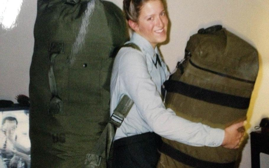 Tara Carr on Army boot camp graduation day in 1996.